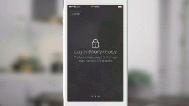 Facebook Anonymous Login nova tipka